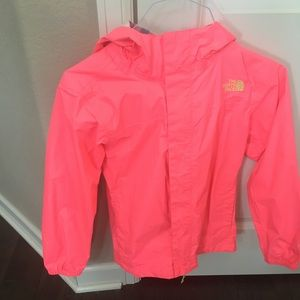 Girls North Face Rain Jacket Pink Size Medium